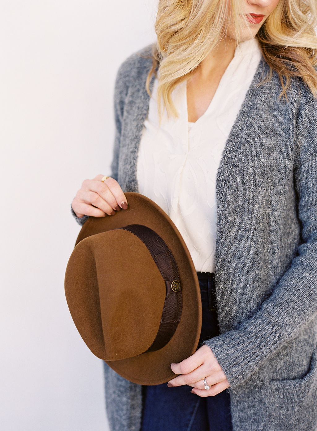 winter headshots with goorin hat