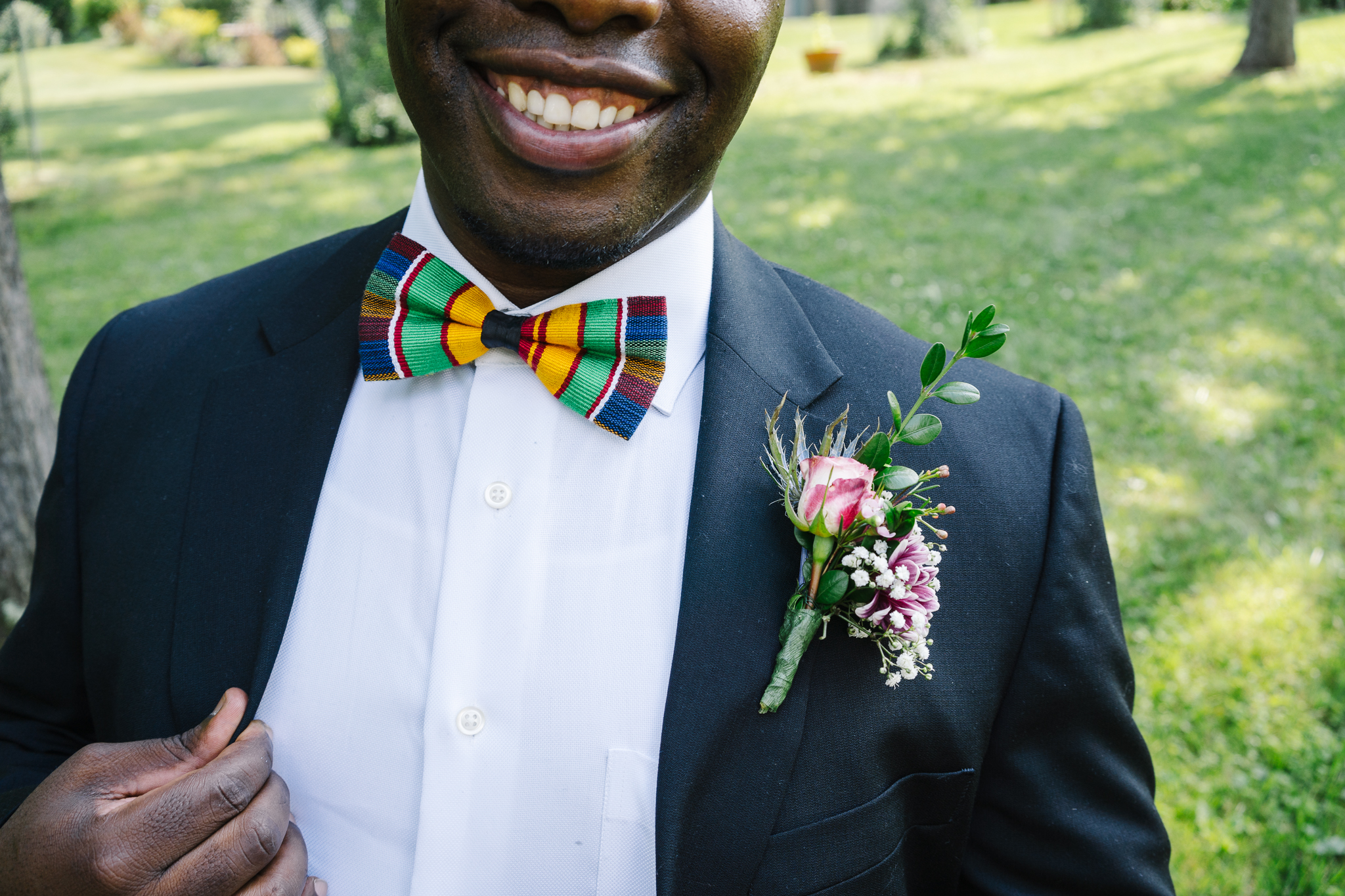 African Themed Bowties at Backyard Wedding