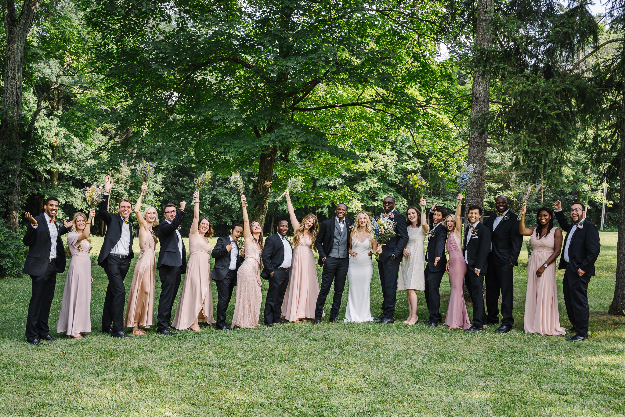 Backyard Wedding Large Bridal Party