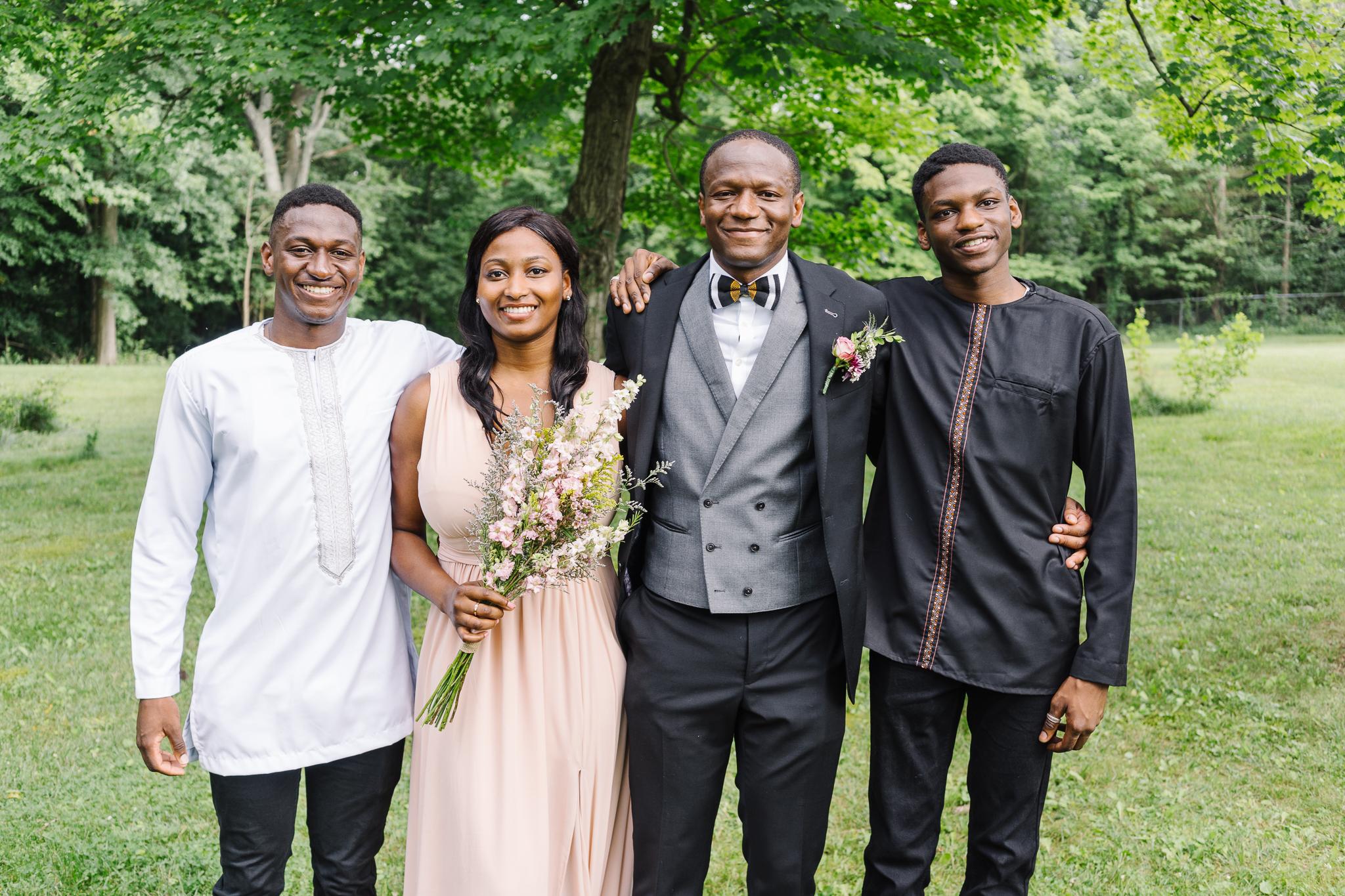 Siblings in Backyard Wedding