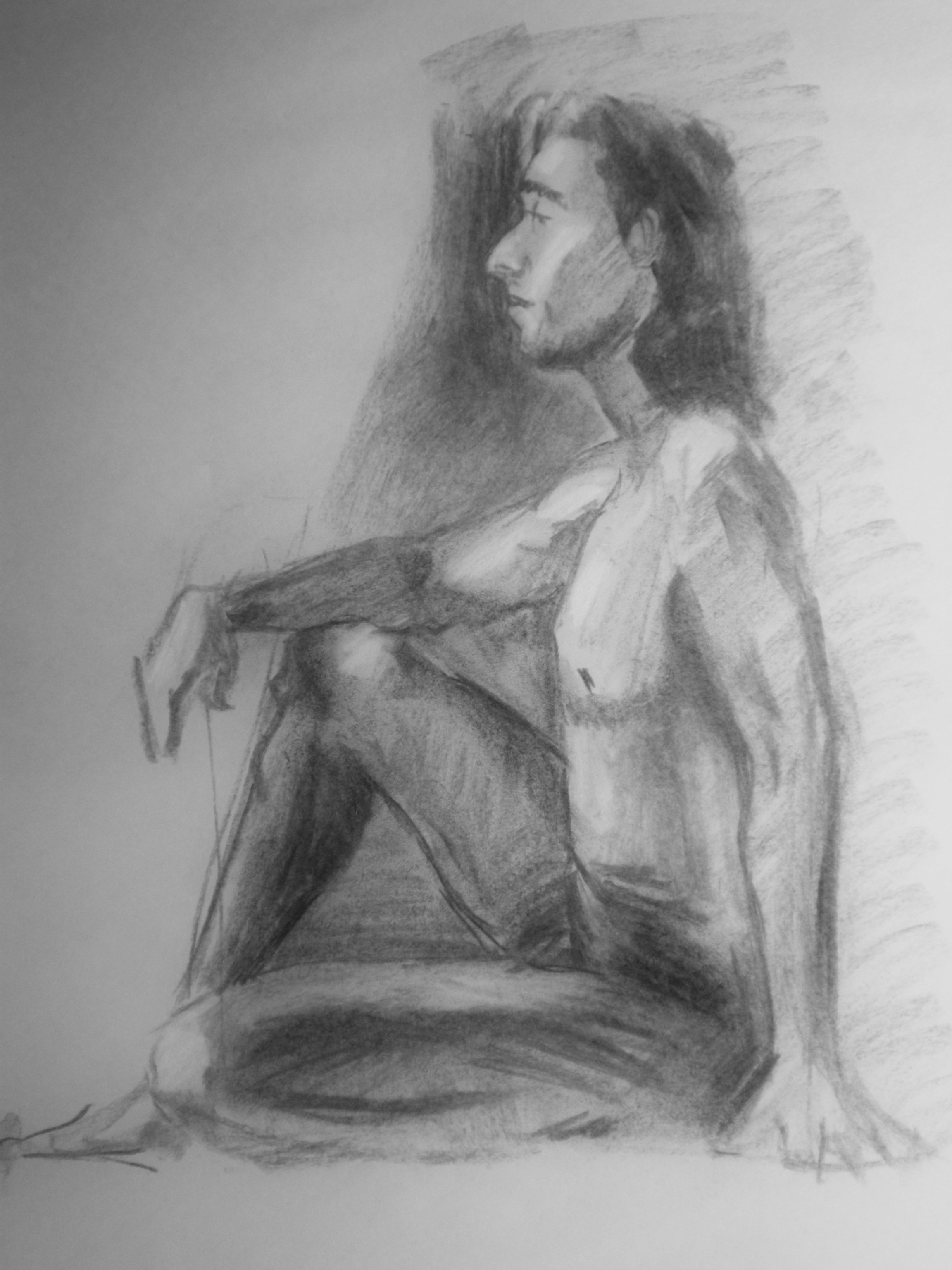 charcoal and conte on paper