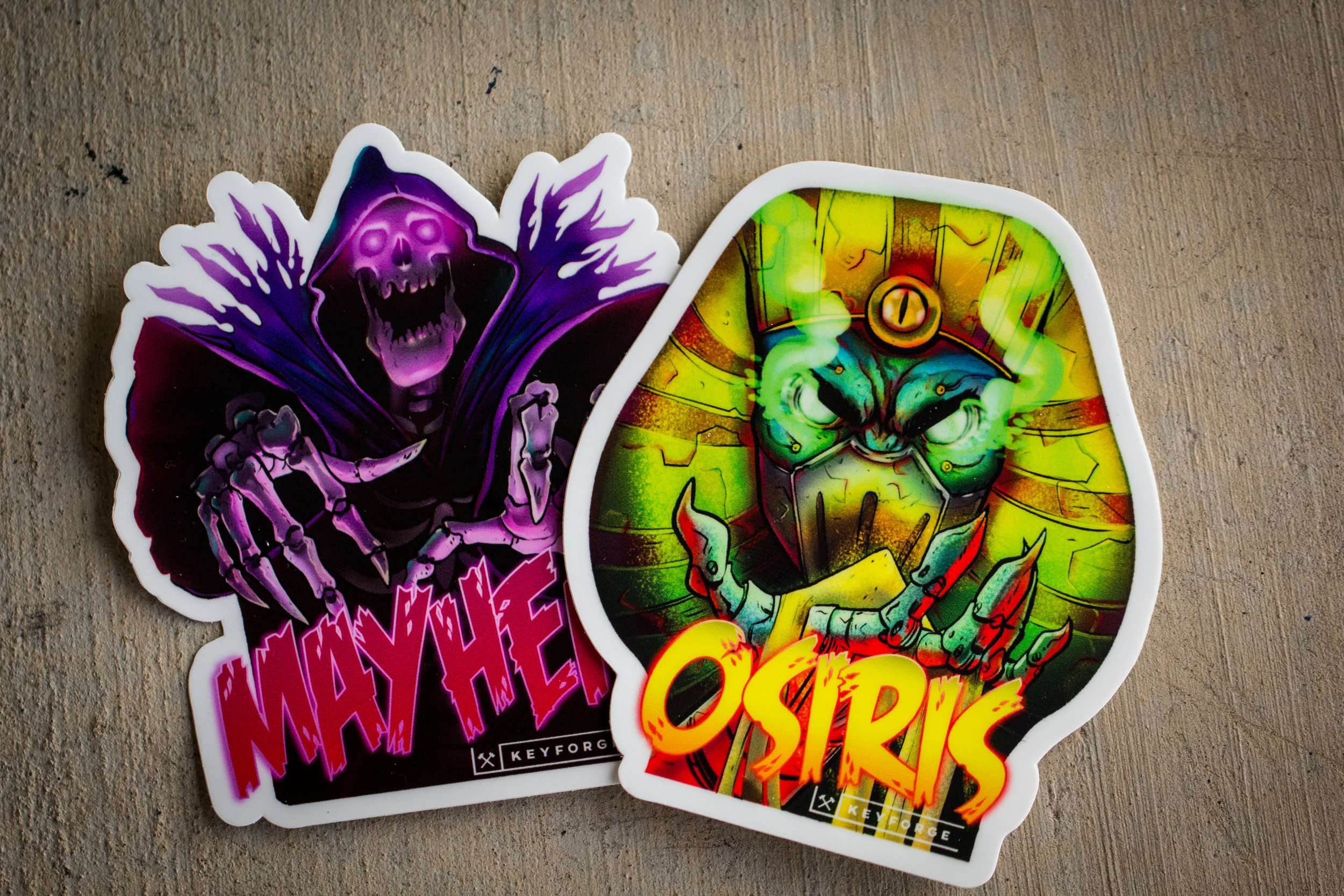 Mayhem and Osiris stickers, included with every order!