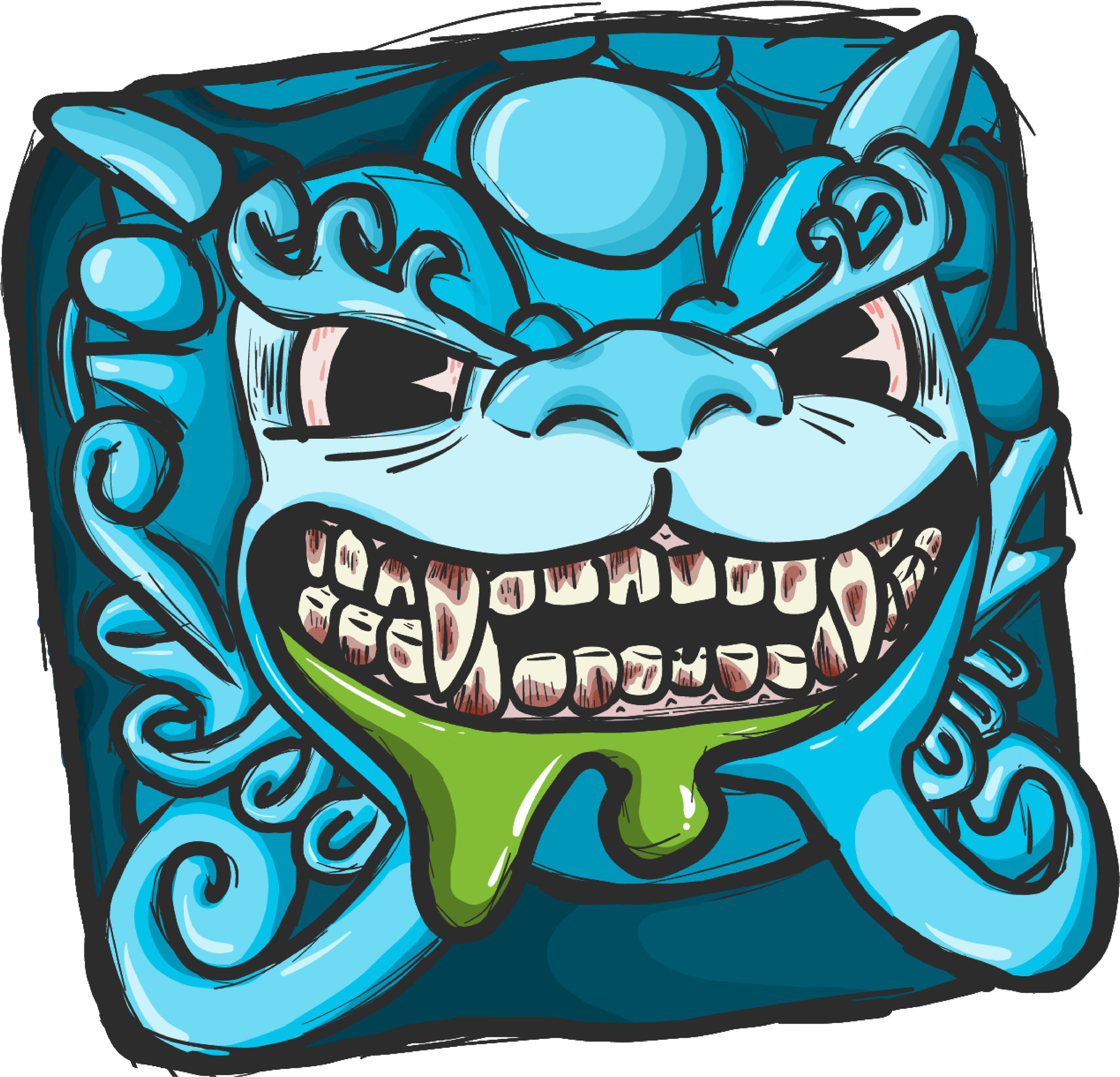 Shishi sticker, drawn by an awesome member of the community. These have been made into stickers and will be included in Fulfillment Sale packages. In the future I will be selecting more artwork submitted by the community for sticker production, so submit your entries to support@keyforge.com
