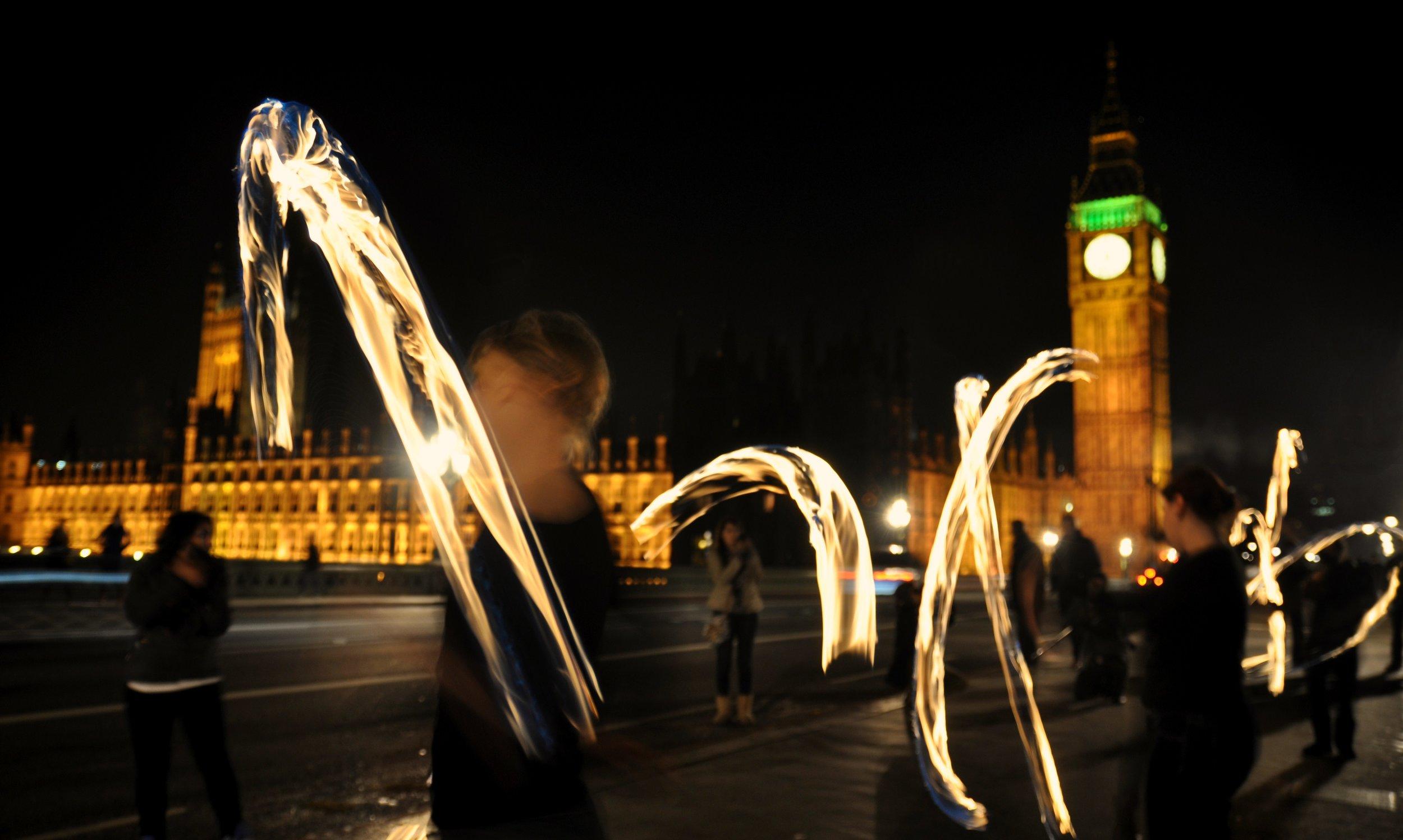 Poi Attack at Big Ben Westminster Bridge, Guy Fawkes