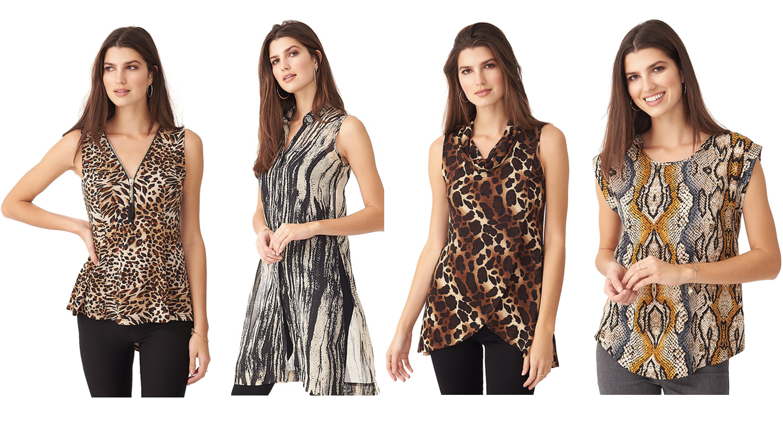 4 ladies wearing animal print blouses