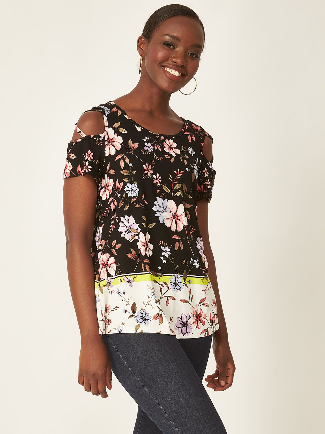 Crisscross Shoulder Floral Top