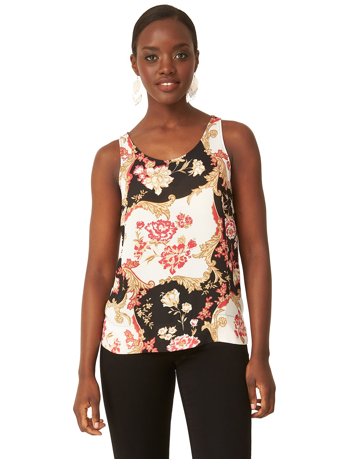 Printed Sleeveless Round Neck Top