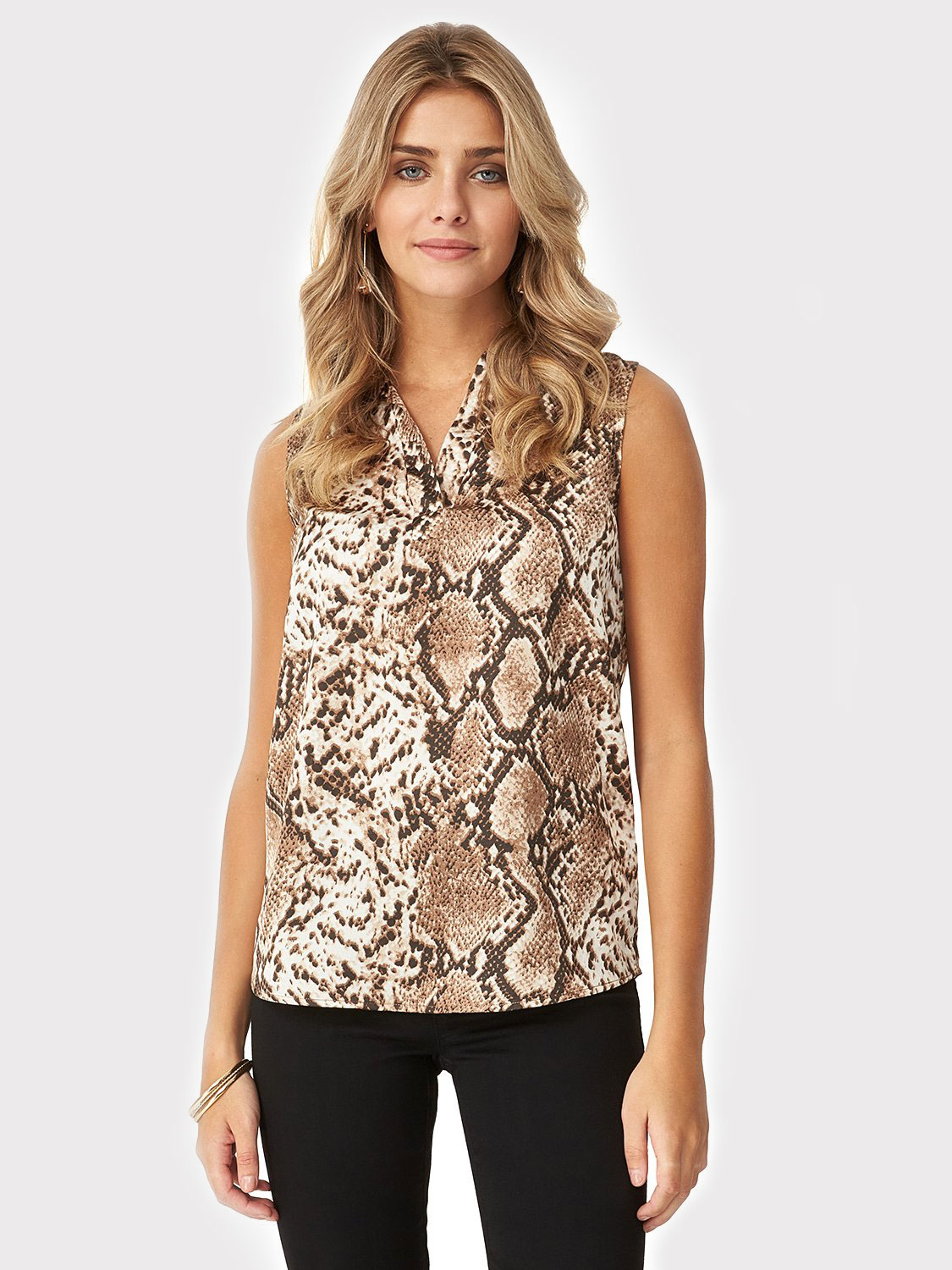 Sleeveless Snake Print Blouse