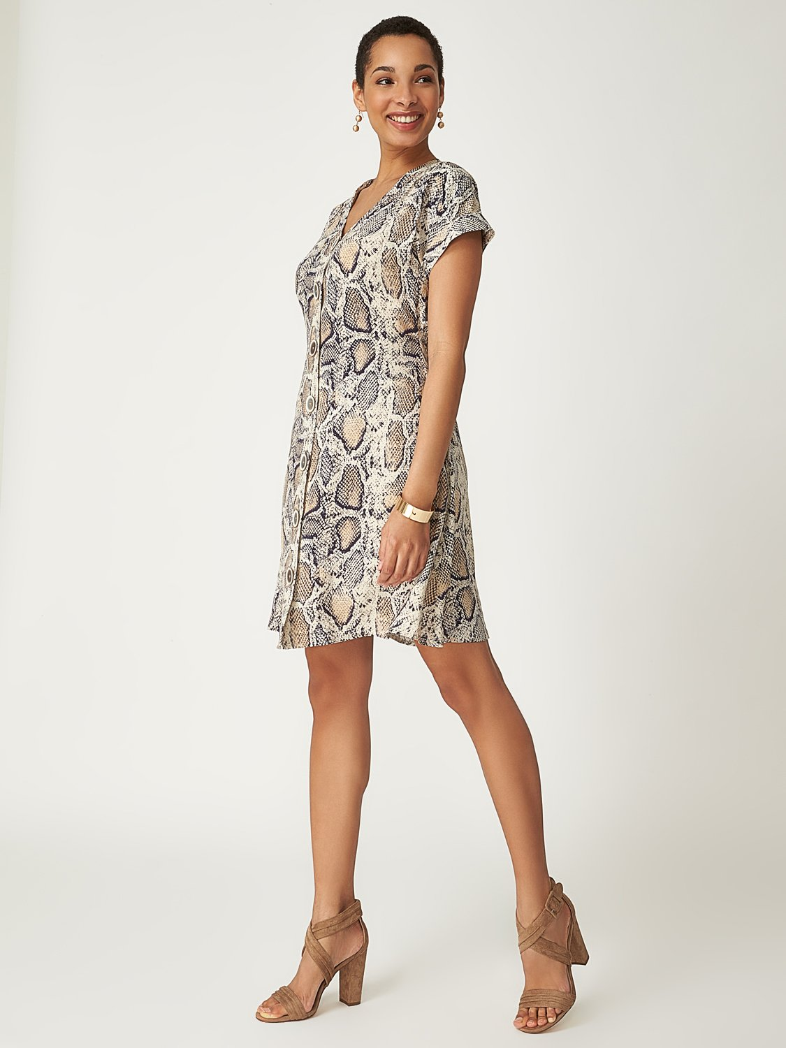 Snake Print Dolman Sleeve Dress