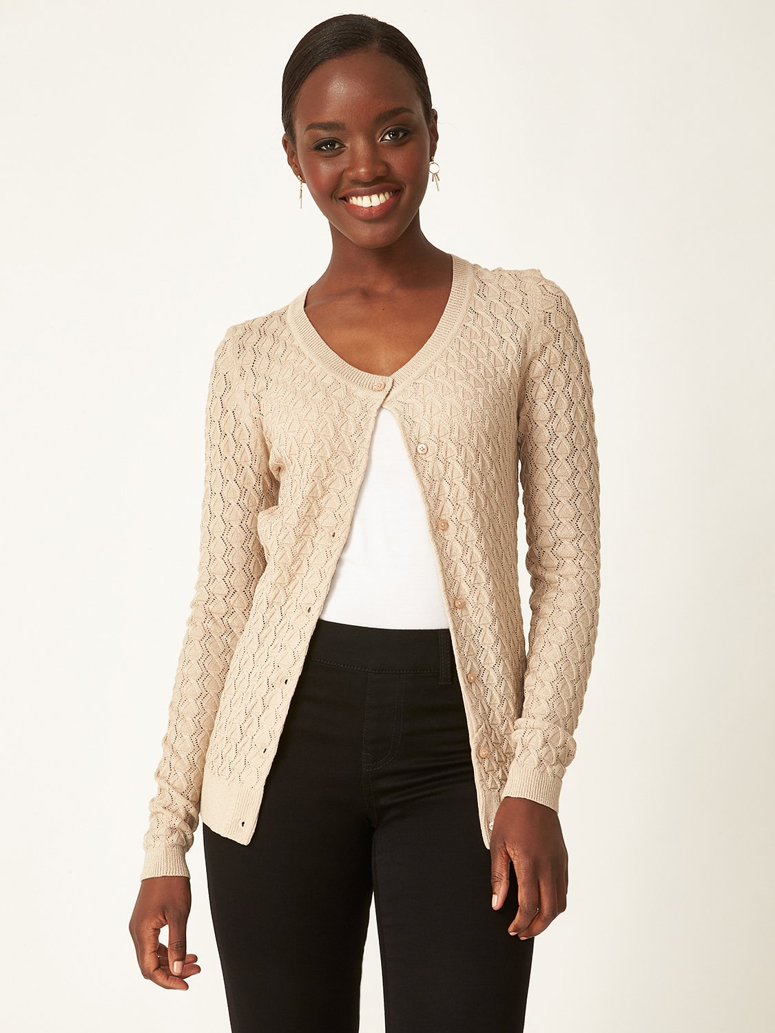 Buttoned Pointelle Knit Cardigan
