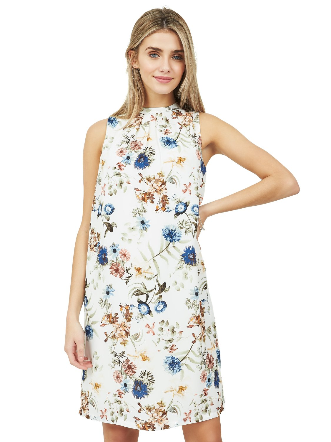 Floral Pleated Tie Back Dress