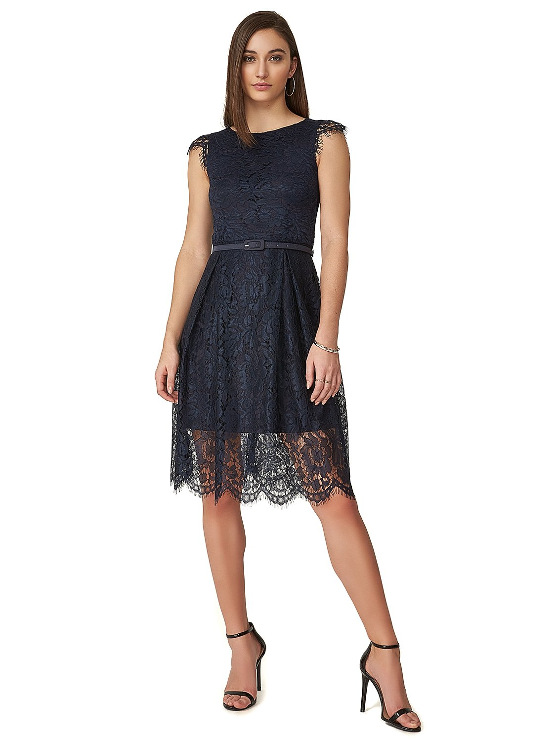 Fit & Flare Belted Lace Cocktail Dress
