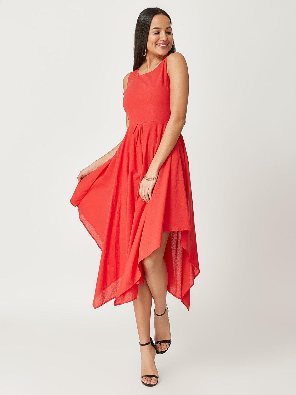 Sleeveless Handkerchief Hem Dress