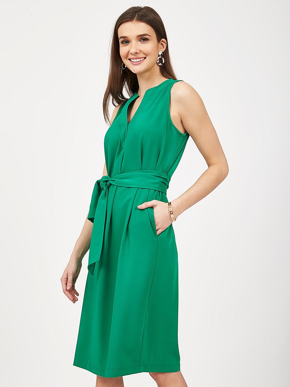 Sleeveless Self-Tie Sash Dress