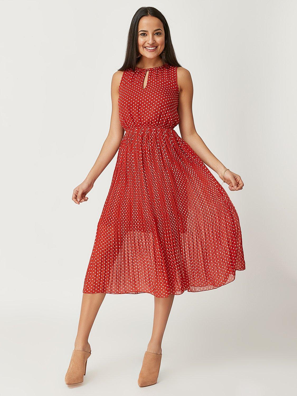 Printed Sleeveless Chiffon Midi Dress