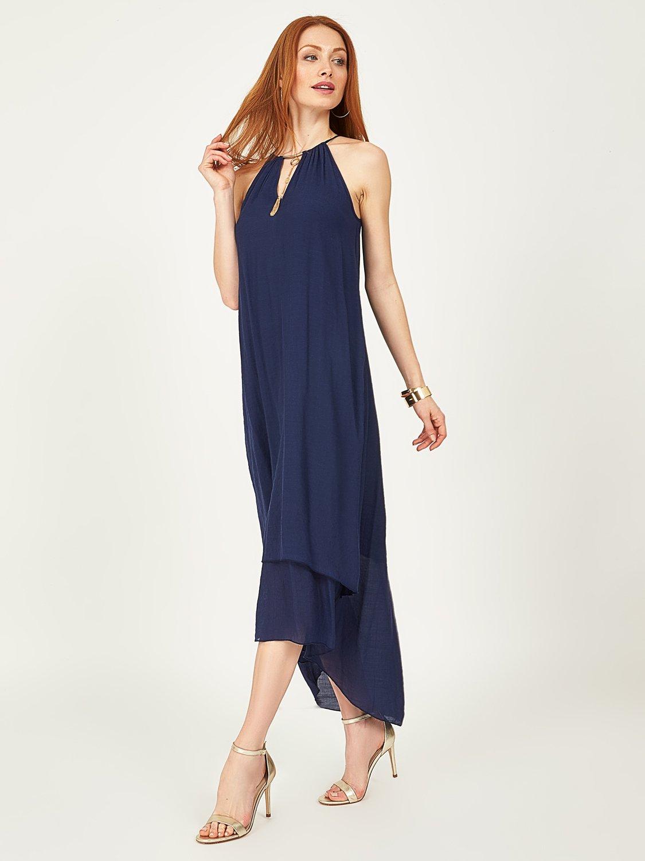 Sleeveless High-Low Midi Dress