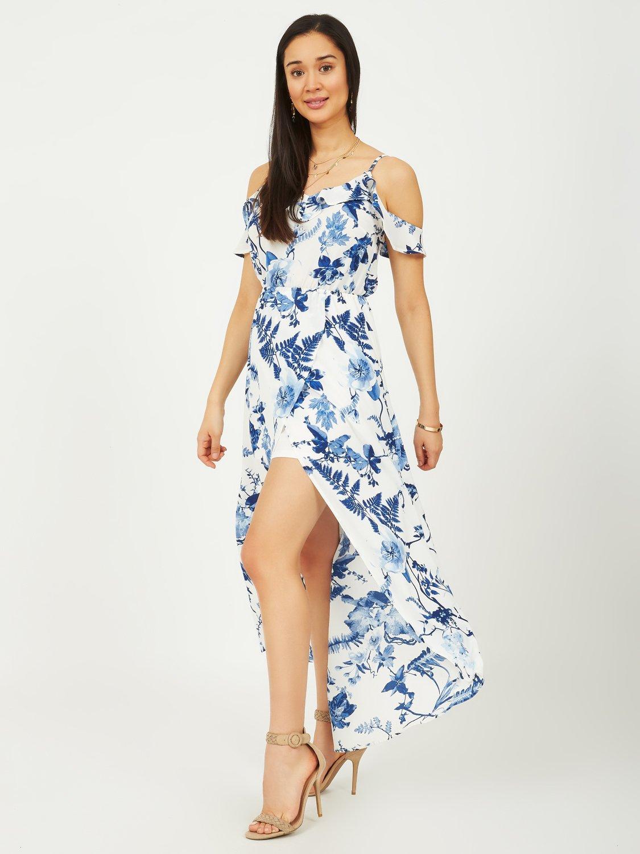 Cold-Shoulder Ruffle Maxi Dress