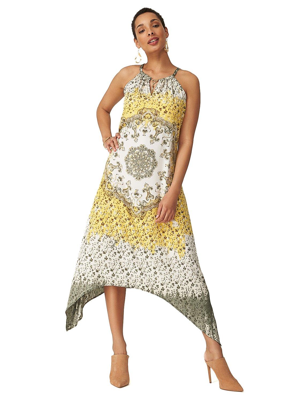 Printed Halter Midi Dress