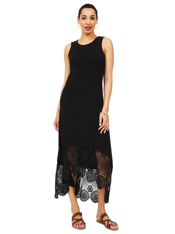 High-Low Sleeveless Crochet Dress