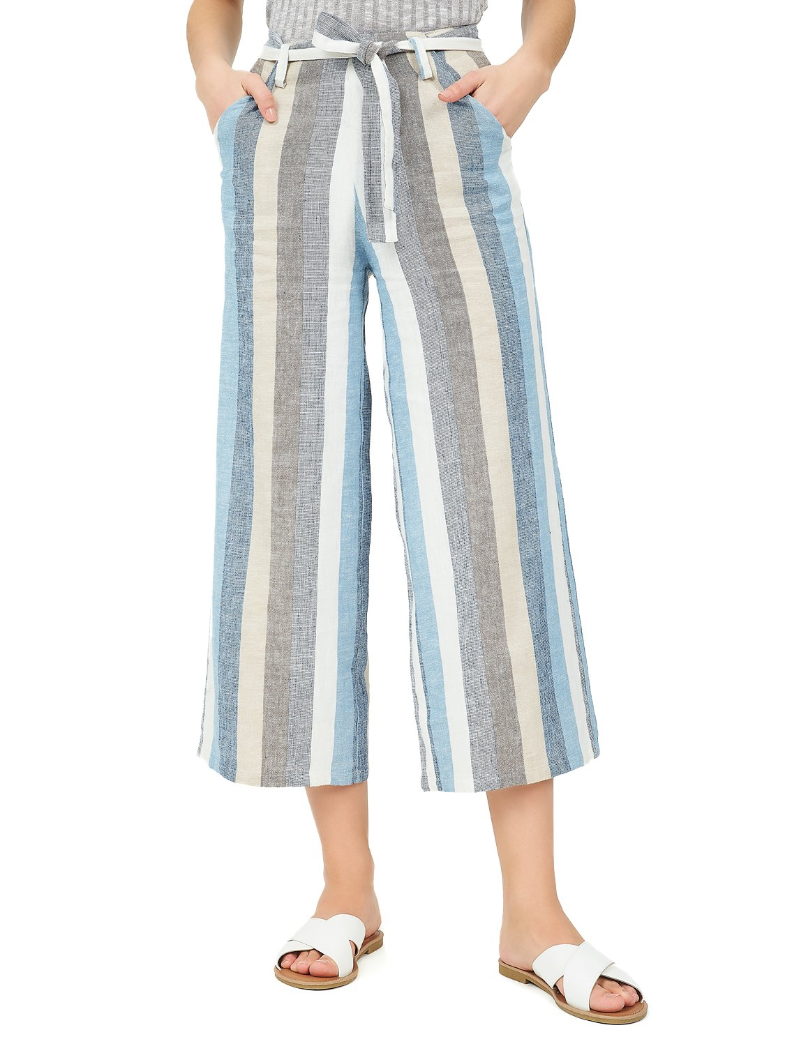High-Rise Cropped Linen Pants