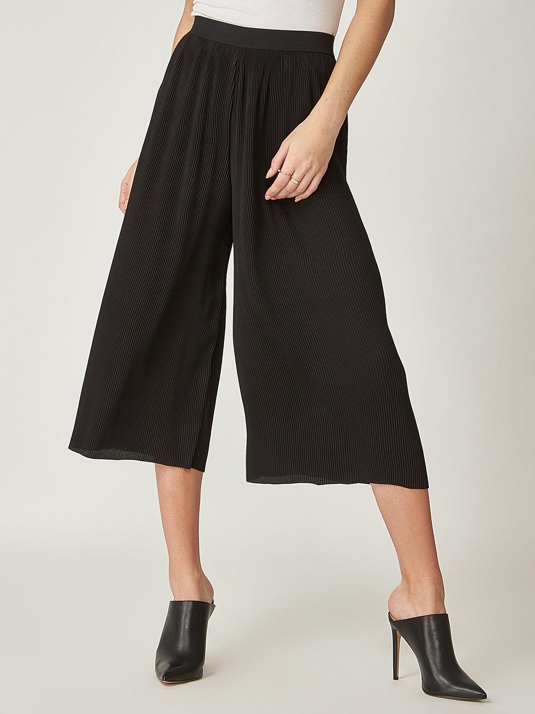 Pantalon gaucho à plis et taille élastique