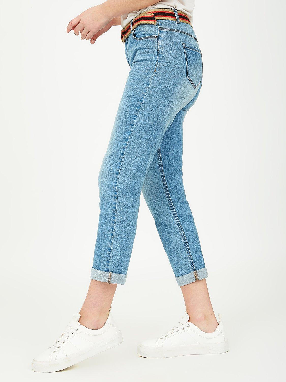 Pantalon capri en jean avec ceinture