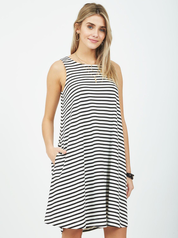 Striped Sleeveless A-Line Dress