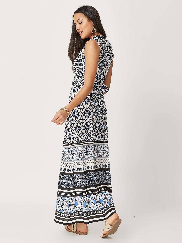 Printed V-Neck Maxi Dress