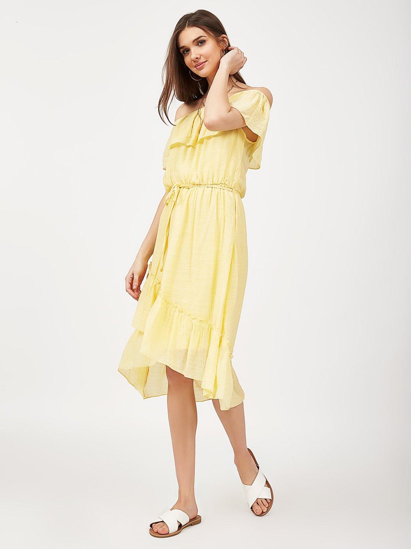 Off-The-Shoulder Ruffle Midi Dress