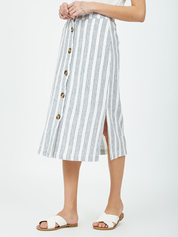Striped Linen Midi Skirt