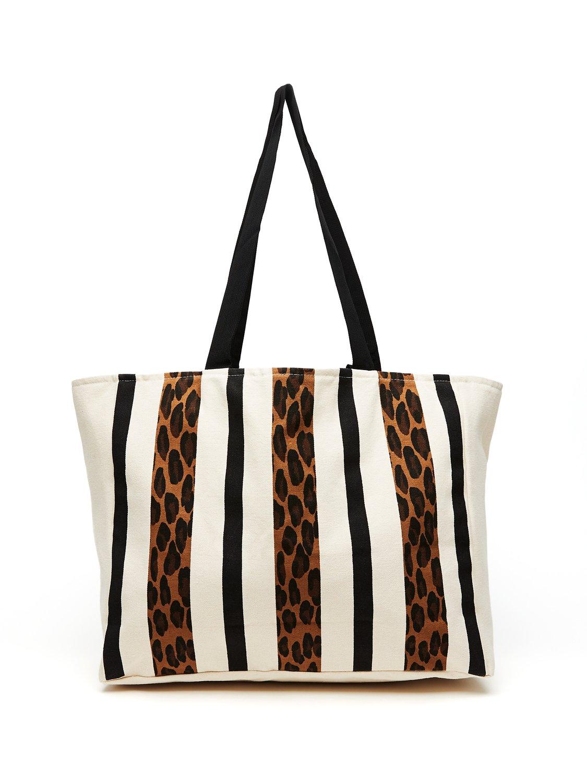 Leopard Stripe Canvas Tote