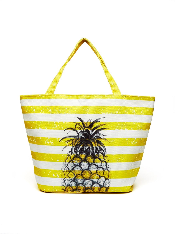 Pineapple Stripe Canvas Tote