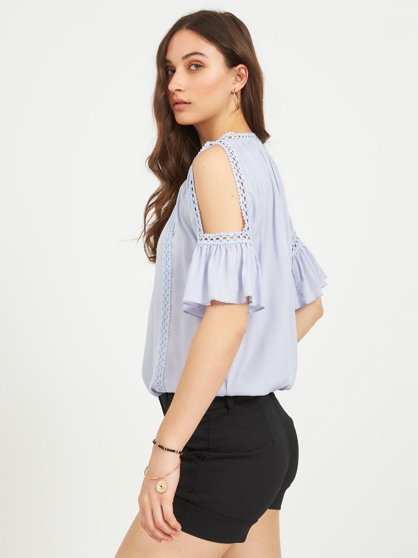 Cold-Shoulder Crochet Peasant Top