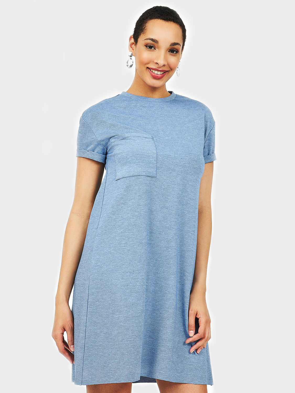 Solid Pleated T-Shirt Dress