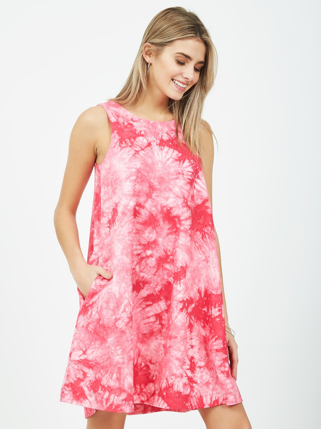 Tie-Dye Sleeveless A-Line Dress