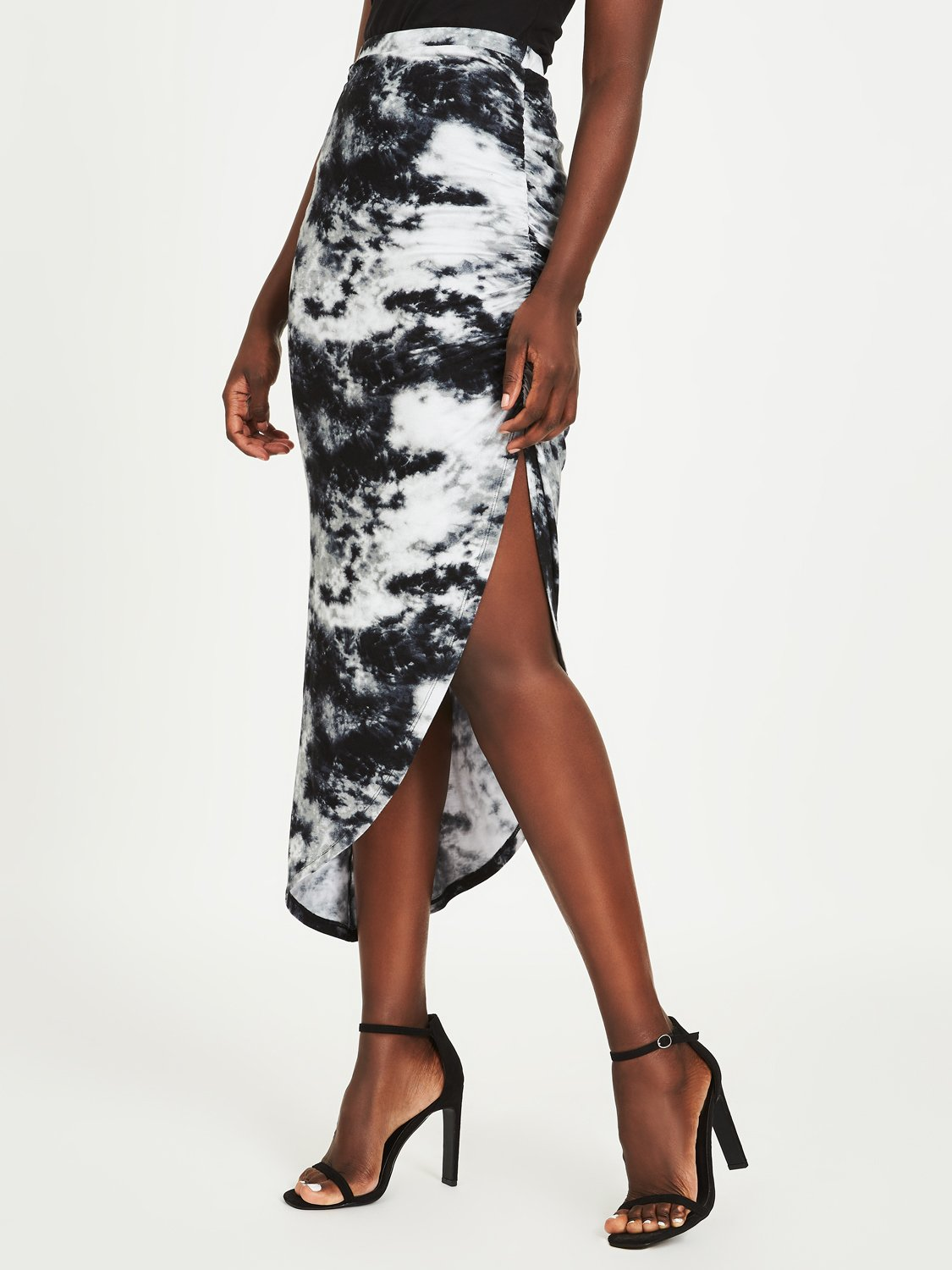 Sheered Asymmetrical Tie-Dye Skirt