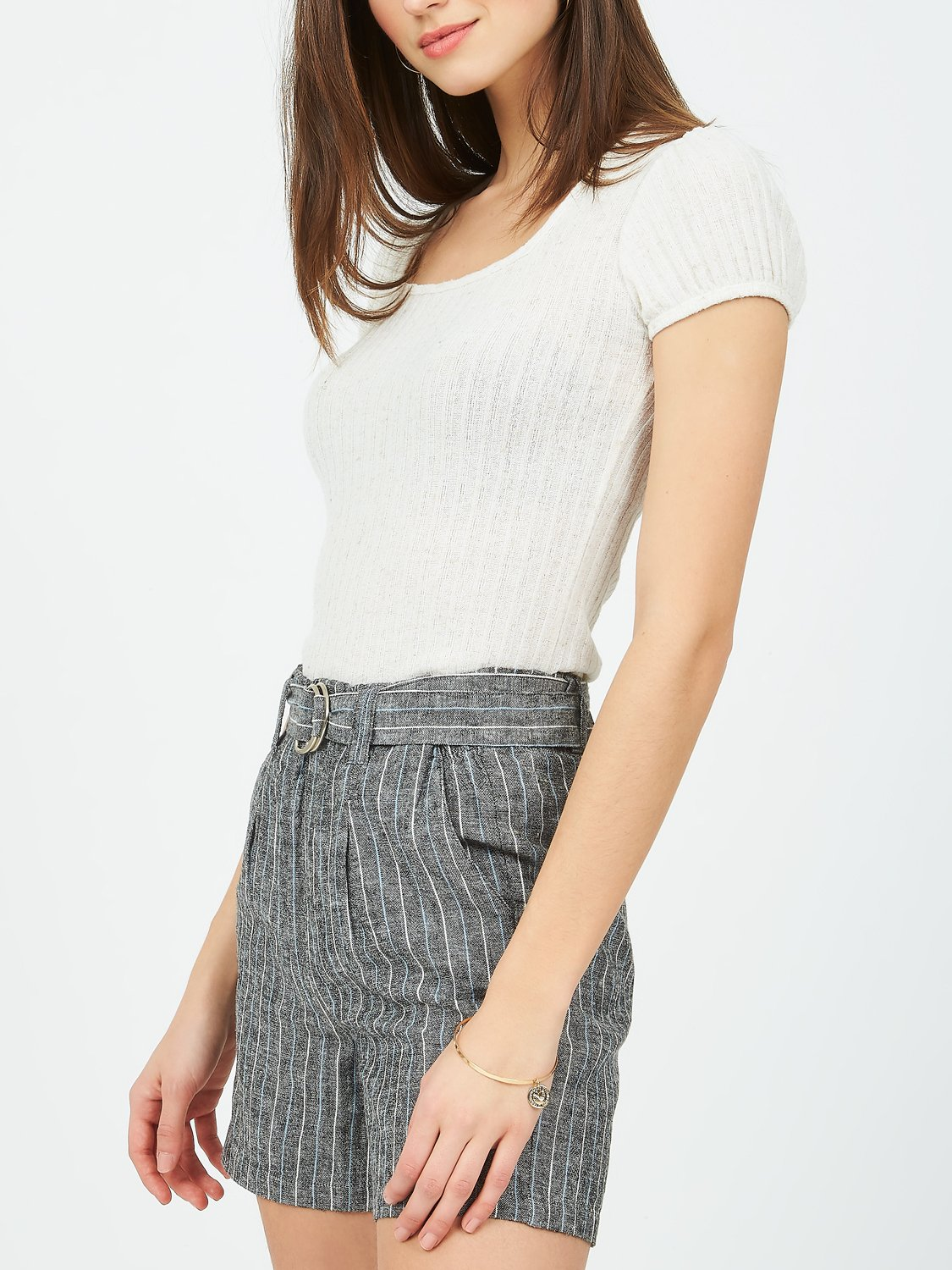 Square Neck Ribbed T-Shirt
