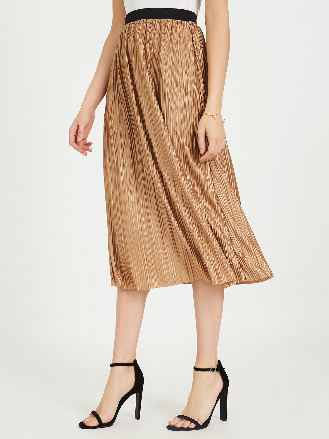 Midi Pleated Skirt With Elastic Waistband
