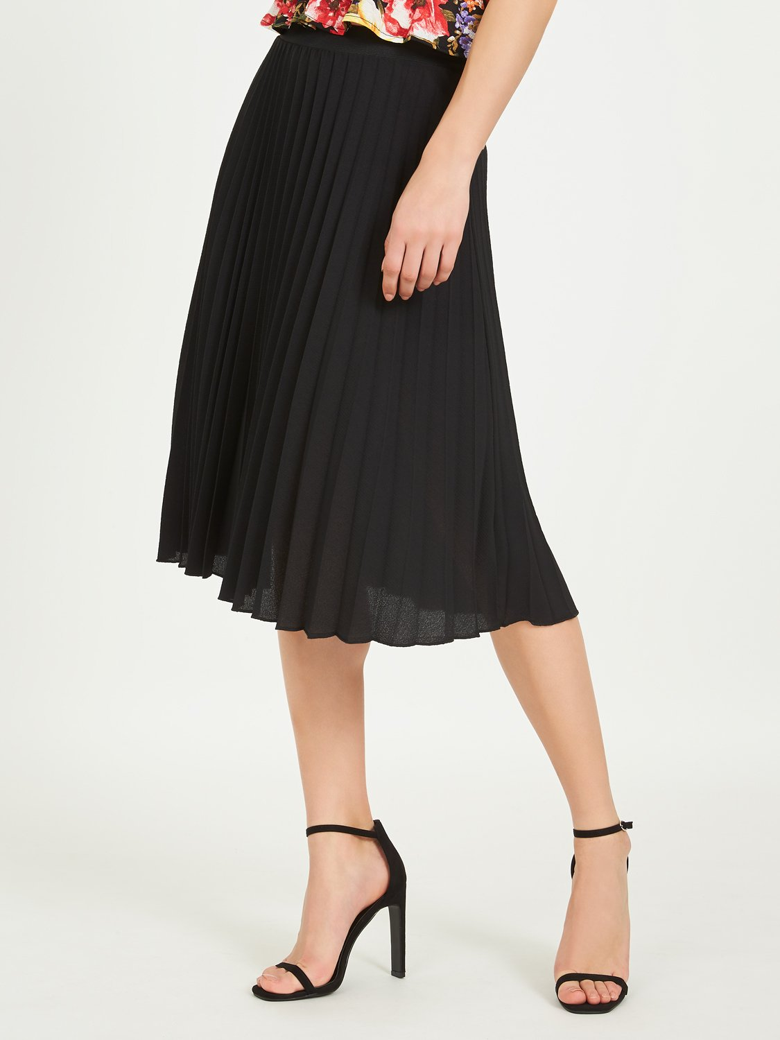Crepe Pleated Midi Skirt