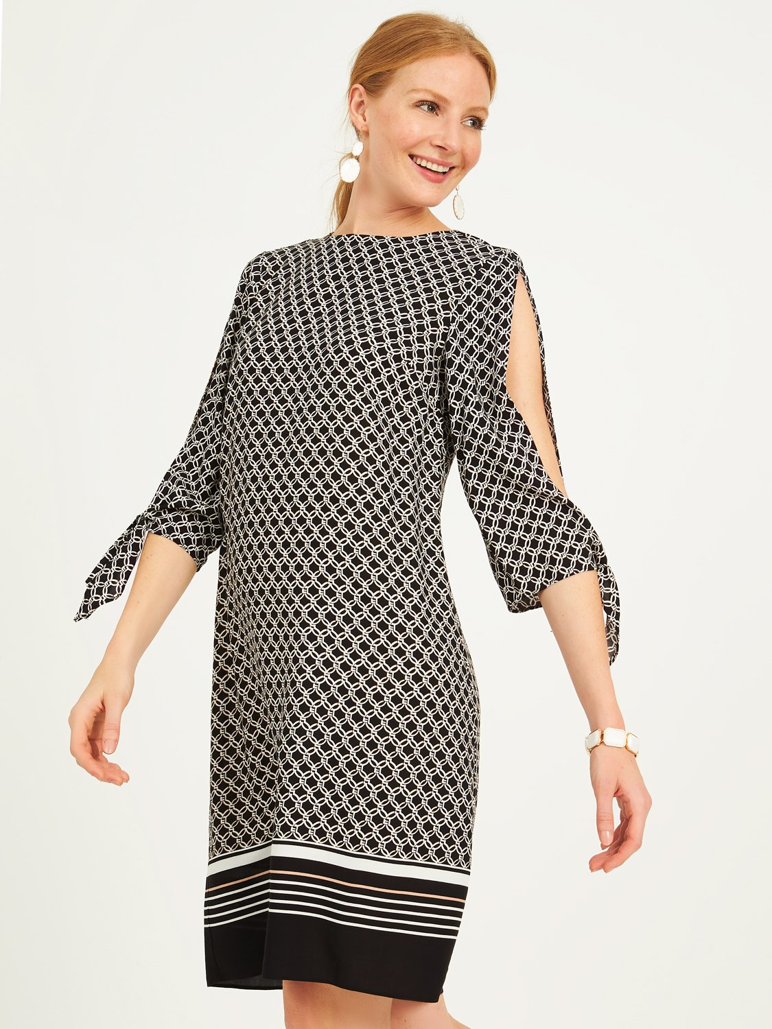 Printed 3/4 Sleeves Sheath Dress