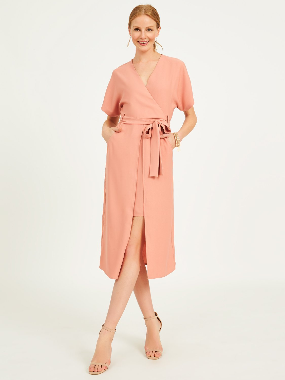 Midi Front Slit Kimono Wrap Dress