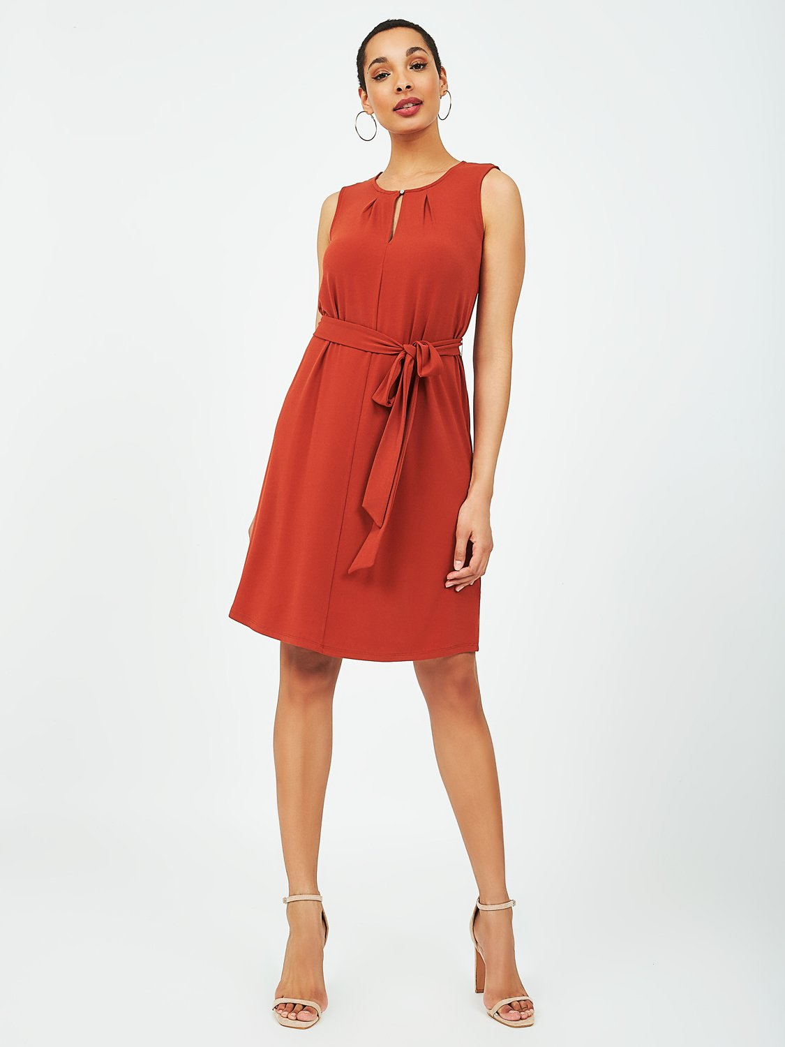 Pleated A-Line Knit Dress