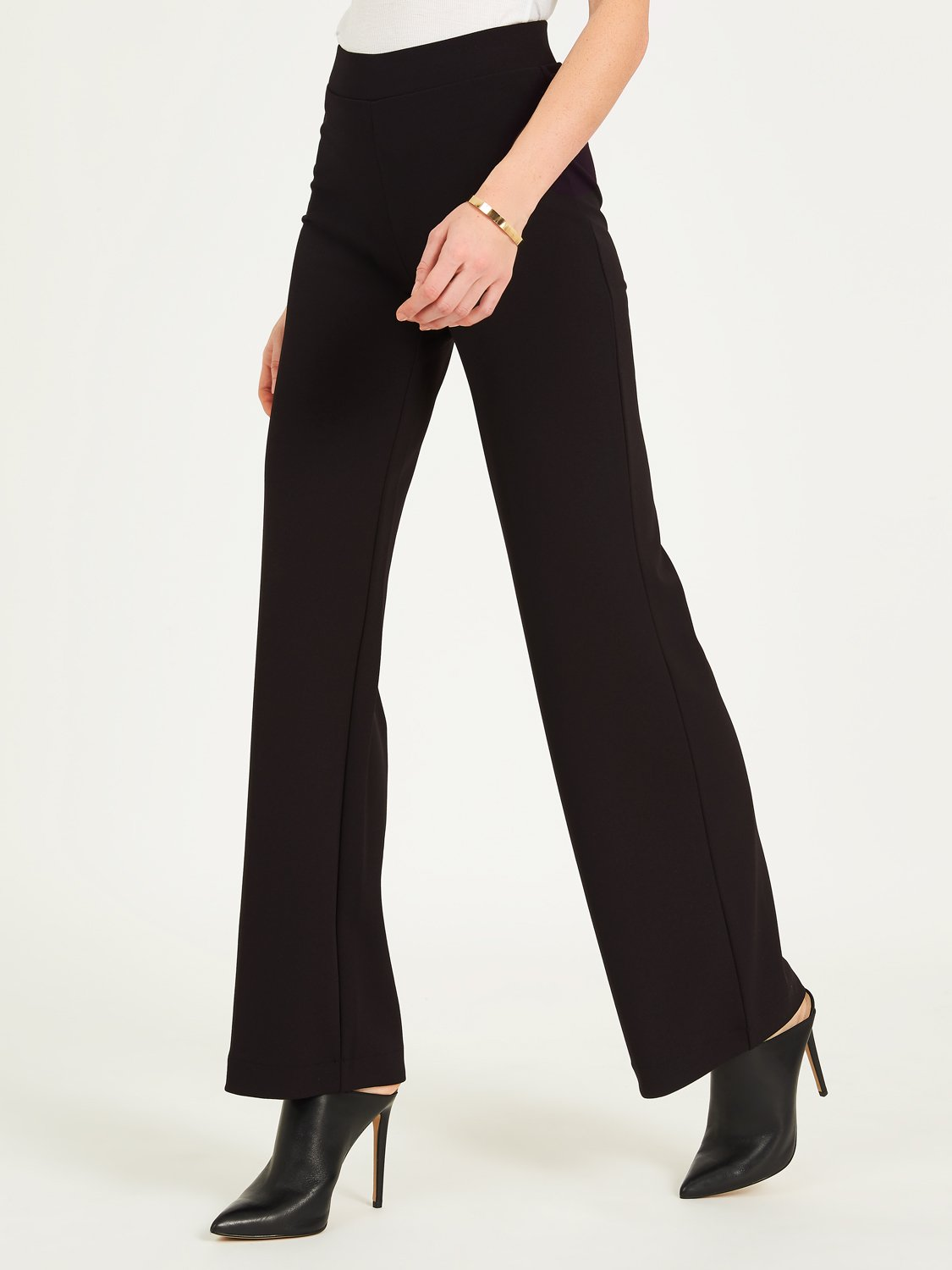High Rise Wide Leg Crepe Pants