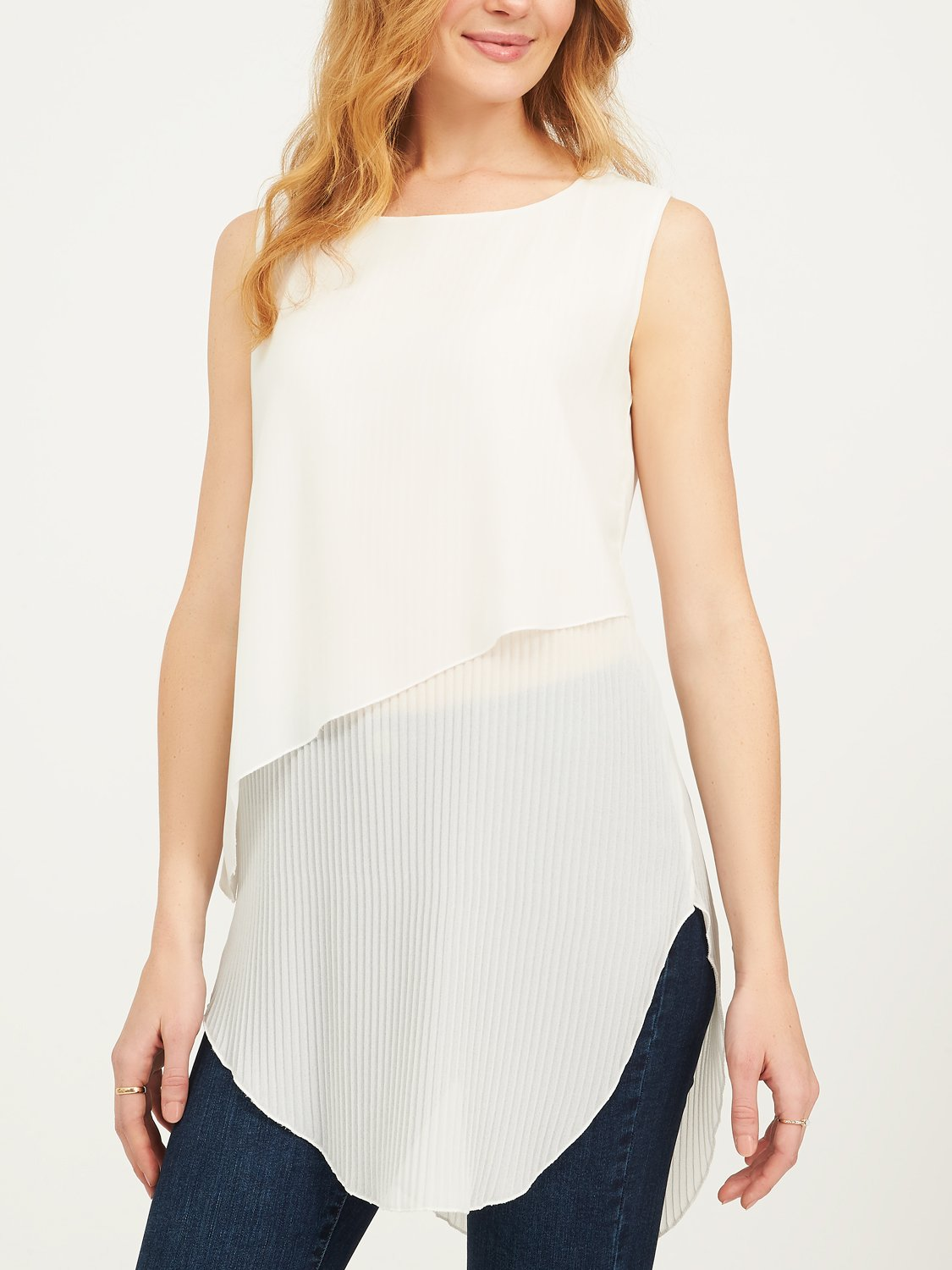 Sleeveless Asymmetrical Chiffon Tunic