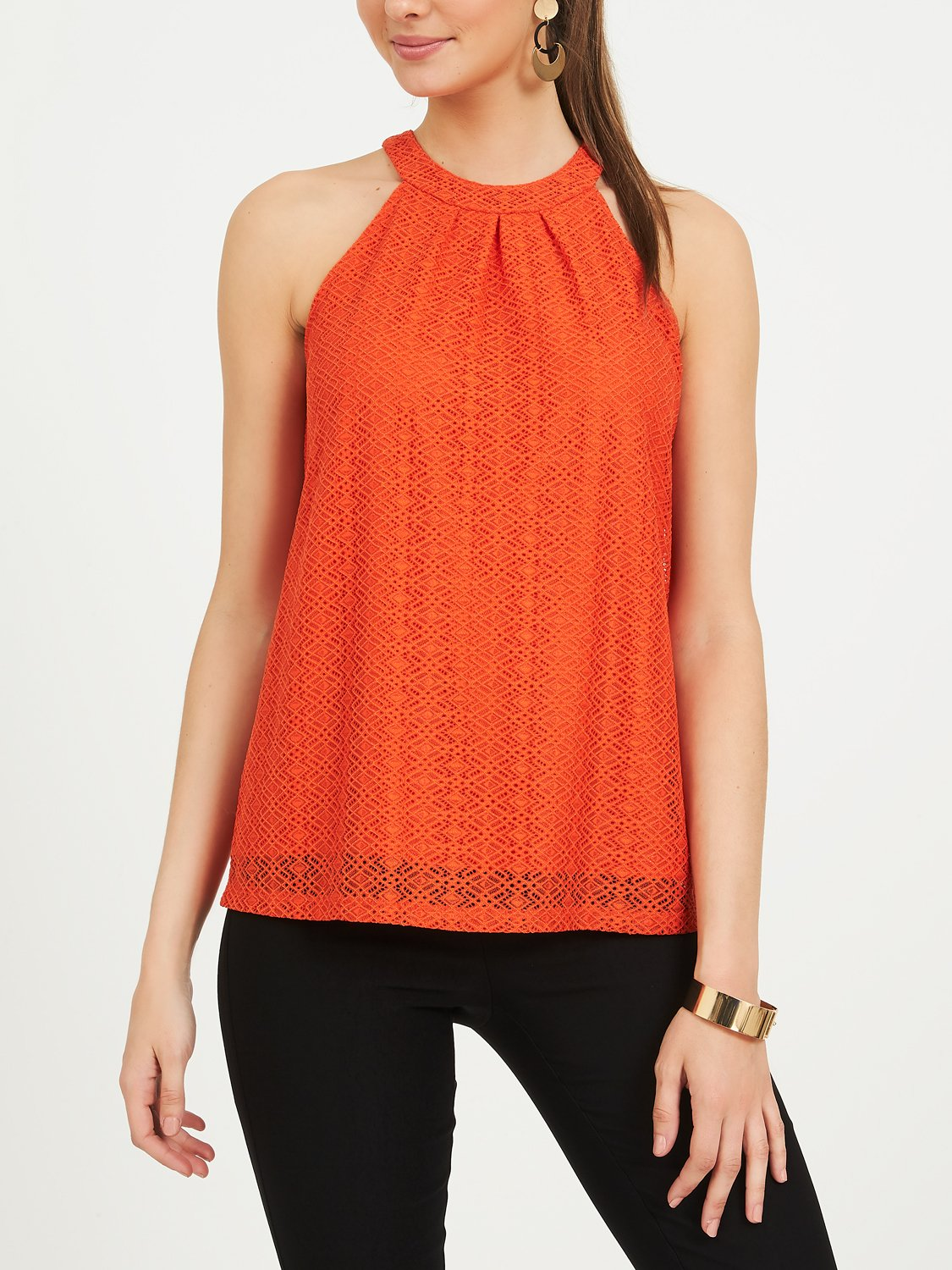 Corded Lace Geo Print Pleated Halter Top