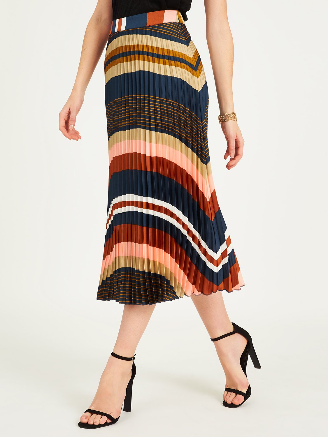 Multicolored Horizontal Striped Pleated Skirt