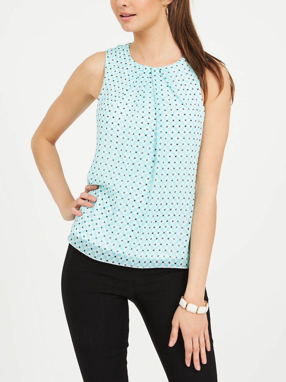 Sleeveless Geo Chiffon Blouse