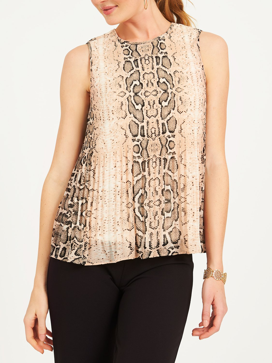 Sleeveless Snake Print Pleated Chiffon Blouse