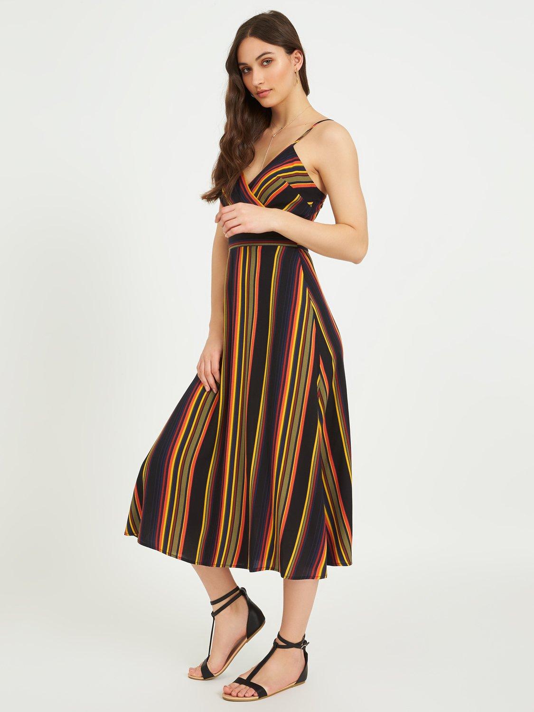 Printed Crossover Midi Dress