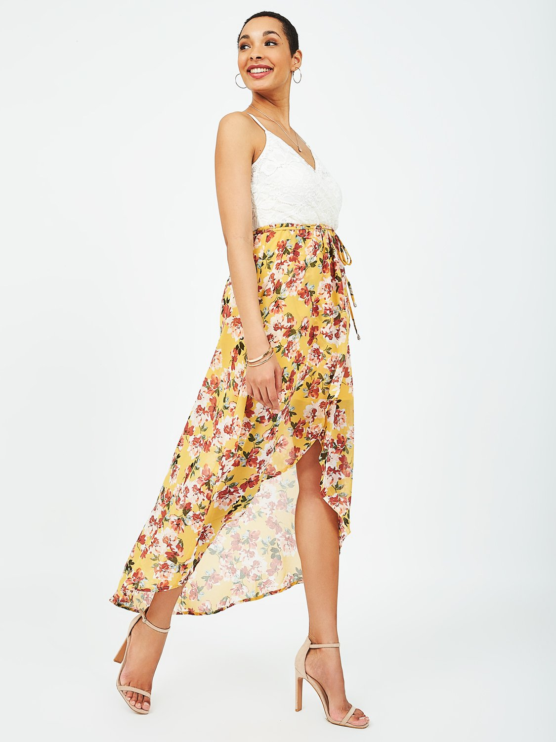 Floral Lace Crossover Dress